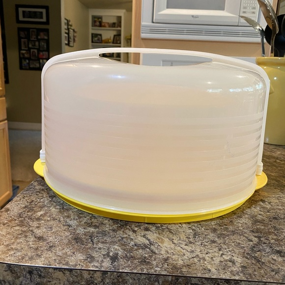 XL cake saver with a deviled egg tray.